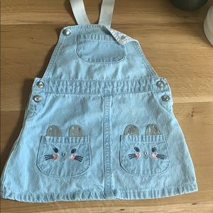 Girls size 24 mos overall jean skirt.